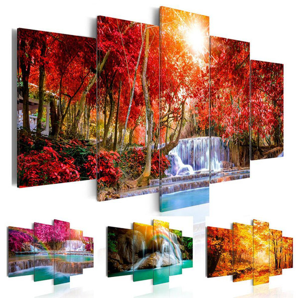 5 Panel Beautiful Waterfall Landscape Painting Flowers Modern Pictures on Canvas Modern Living Room Office Decoration,No Frame
