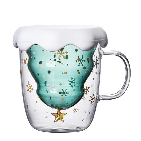 2019 nouvelle Coupe du verre d'arbre de Noël Tasse résistant à la chaleur double couche verres Petit-déjeuner Gruau Cup Bottes lait tasse potable cadeau personnalisé