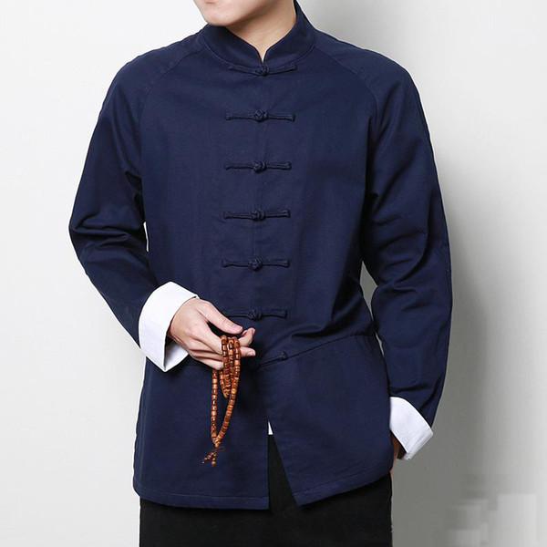 Estilo chinês De Algodão Tai chi top Homens manga longa tang jacket outwear roupas tradicionais chinesas Primavera Wushu Kung fu camisa