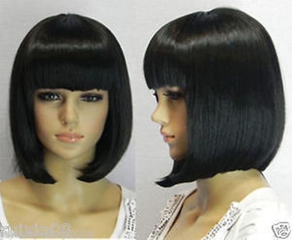 Stylish Short Human Made Straight Hair wig Kanekalon hair no lace front wigs Free deliver