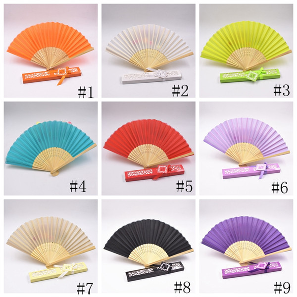 top popular Silk Fan Fashion Silk Folding Hand Fans Dance Wedding Party Fold Fan Solid Color Fans Gift Paper Box Package Novelty 12colors GGA2581 2021