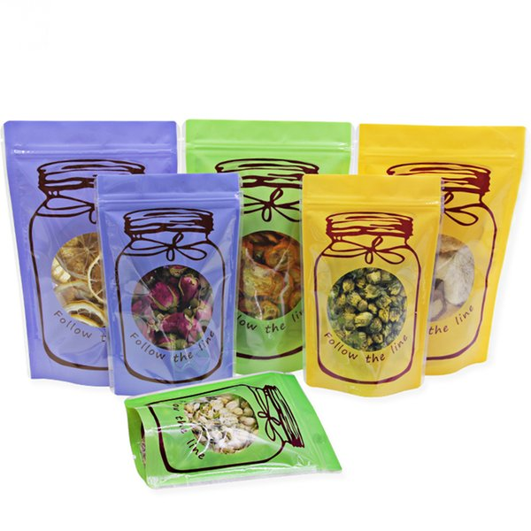 Stand Up Pack Bags Self Seal Zipper Bag Reclosable With Clear Window Plastic Bags Bottle Printed for Sugar Candy Storage 2 Sizes Available