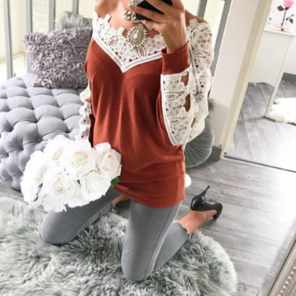 New 2019 Spring Women Lace Loose Long Sleeve Tops -Shirts Casual Basic Cotton T-Shirt