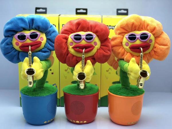 Rock Flower Altavoz Bluetooth Baile Girasol Subwoofer de música de baile electrónico Soporte Tarjeta USB / TF Reproducción Radio FM Flor de saxofon Altavoces de Navidad