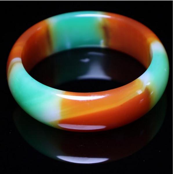 Bracelet en calcédoine naturelle et authentique en agate tricolore élargi au bracelet épais d'agate Fu Lu Shou