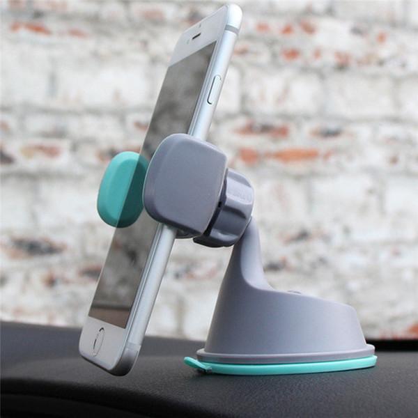 2 1 Araba iphone Samsung için Telefon Tutucu 360 Döner Vent Bağlayıcı Parantez Gösterge Tablosu Navigasyon Silikon Emme Kupası Araç Parantez içinde