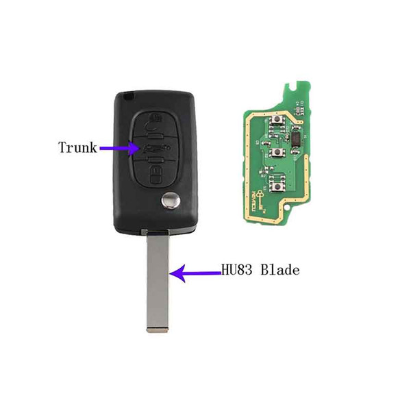 3Buttons Trunk HU83 Blade&433MHz PCF7961 chip Remote key For PEUGEOT 207 208 307 308 408 For Citroen CE0536 ASK Signal