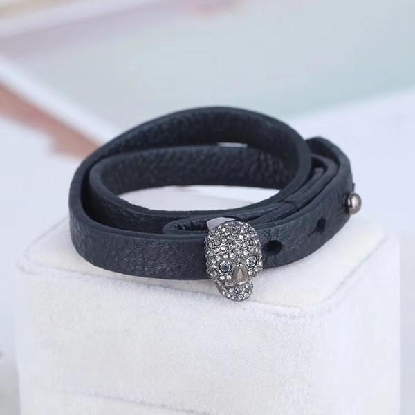 Lüks hakiki deri çift bilezik ile kafatası metal ve logosu kadınlar için bilezik siyah ve 41 cm uzunluk düğün takı için ücretsiz shipp