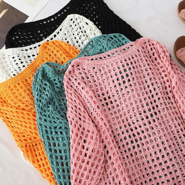 Женщины Полые Трикотажные Пуловеры Осень Прозрачный Неоновый Сплошной Вязание Свитер Солнцезащитный Крем Трико Негабаритных Трикотажные Топы