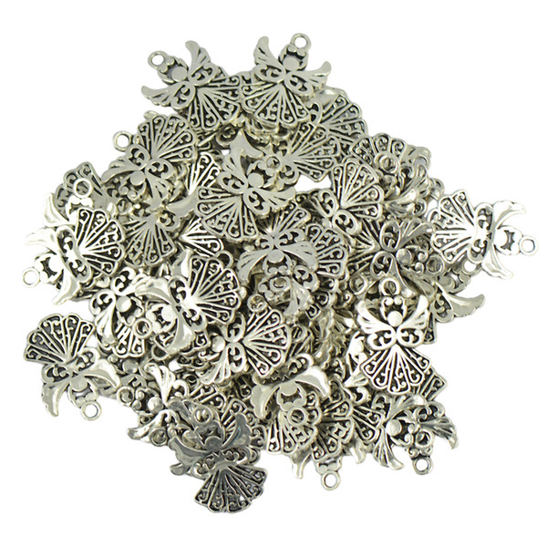 50 Pieces Tibetan Silver Filigree Heart Pendants Charms for Jewellery Making