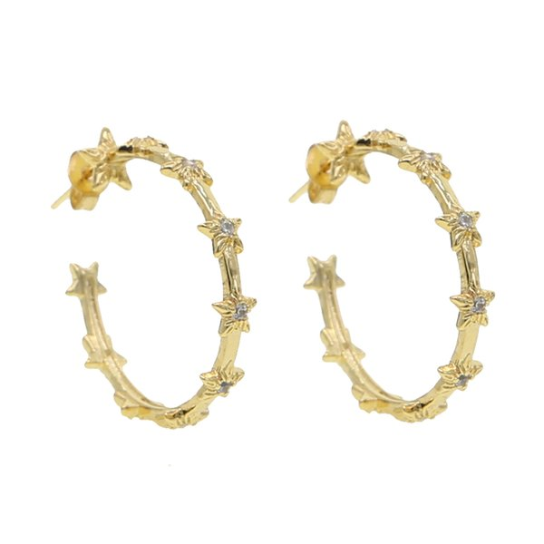Gold filled classic sparking cz hoop design cz cluster full stone hoops with star engagement fashion women chic boho earring
