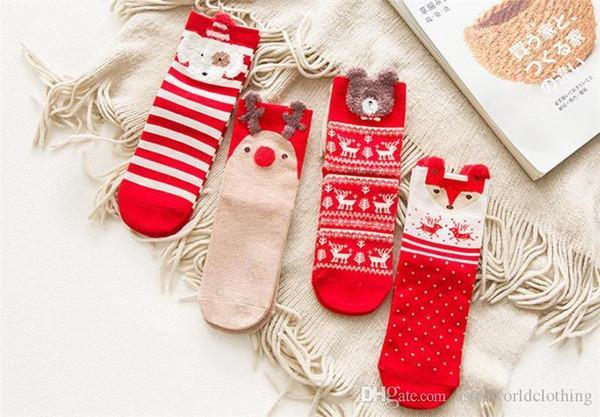 Christmas Womens Socks Cartoon Bear Cute Womens Hosiery Cotton Striped Printed Female Socks