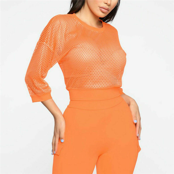 Para mujer Blusas y tops Summer Solid Mesh Sheer Crop Tops Tee See Through Chaleco Camiseta Tee Ropa de mujer Partido Playa Mujeres Top