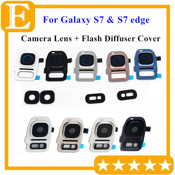 Back Rear Camera Lens Glass with Frame Holder Cover Flash Diffuser Pink Blue For Samsung Galaxy S7 edge G930 G935 Universal Replacement part