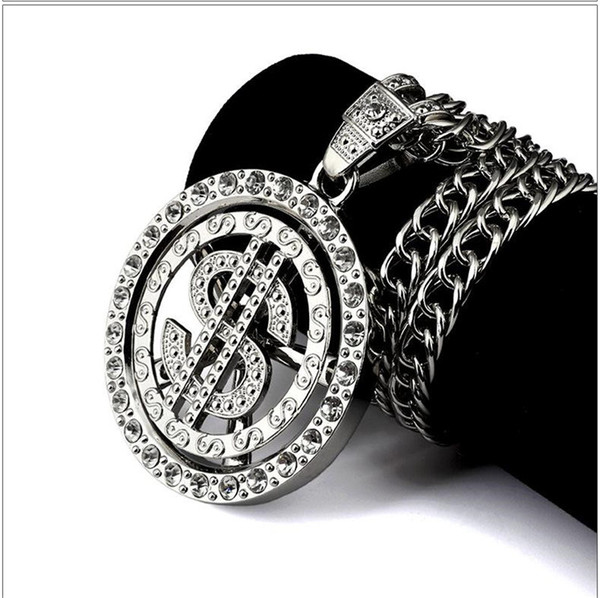 Fashion Coin Dollar Necklaces Men Luxury Design Money Coin Necklaces Full Diamond Pendant Necklace Fashion Accessories Party Gift
