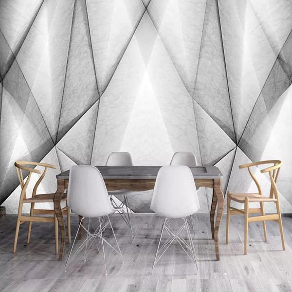 Großhandel Benutzerdefinierte Fototapete 3d Stereo Abstract Space Schwarz Weiß Geometrie Wandbild Moderne Kunst Kreative Wohnzimmer Hotel Study Wall