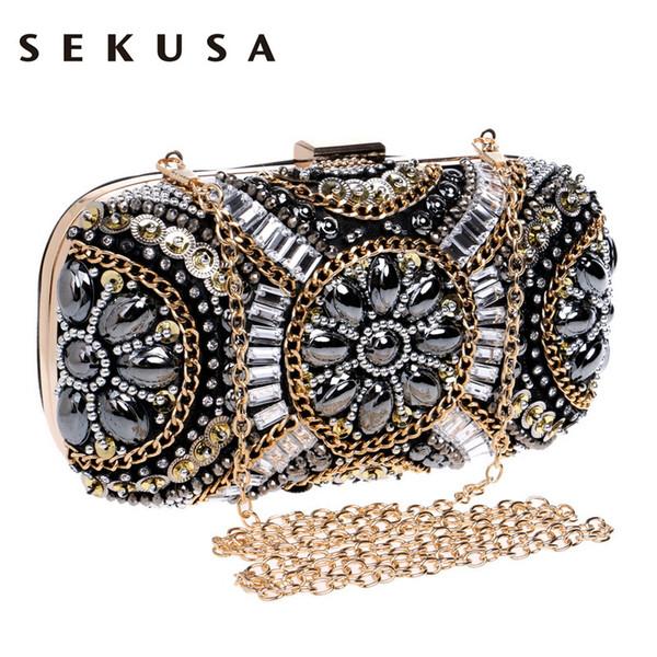 Bolso de noche de cristal para mujer de Sekusa Bolsos de embrague con cuentas retro Bolso con cuentas de diamantes de imitación Bolsos de hombro pequeños Rhinestone J190630