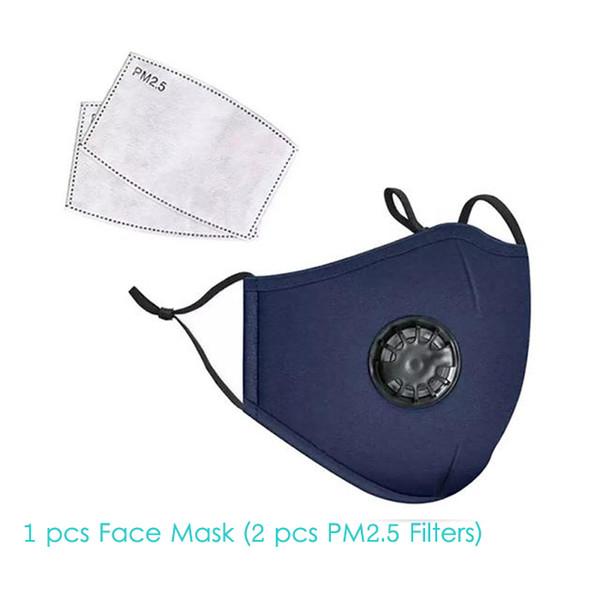 1pcs blaue Gesichtsmaske + 2pcs Filter