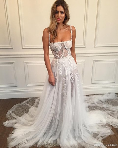 2019 New Sexy A Line Wedding Dress Spaghetti Sequined Bridal Gowns Sweep Train Appliques Wedding Dress Custom Made