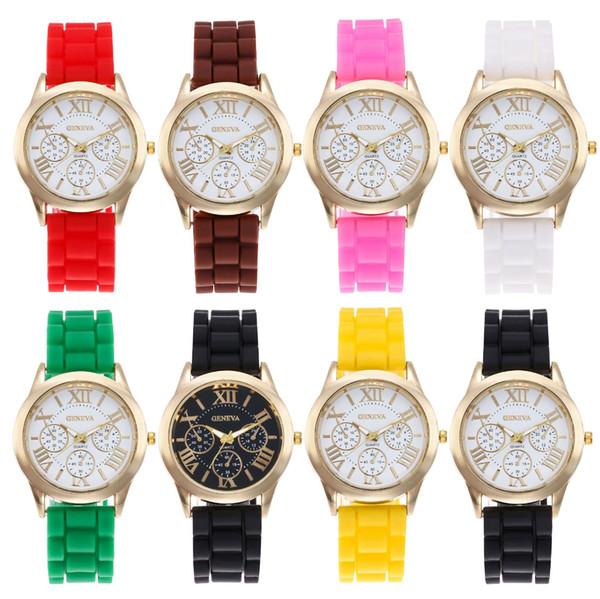 CALIENTE reloj femenino de silicona de Ginebra Relojes de color caramelo para mujer con tira de silicona Reloj de cuarzo 15 colores para elegir