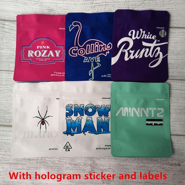 best selling Hot Sale White Runtz SORBET GEORGIA PIE MINNTZ YELLOW FRUIT STRIPES COOKIES California SF 3.5g Mylar Bags Touch Skin Pink Rozay bag