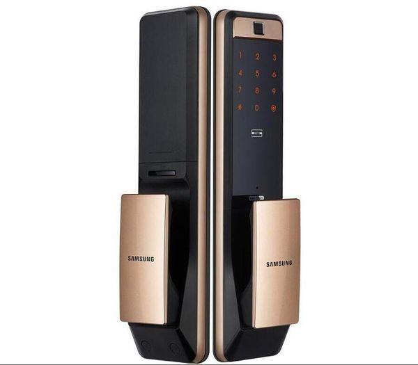top popular 2020-SAMSUNG SHP-DP609 Keyless Fingerprint PUSH PULL Two Way Digital Door Lock English Version Big Mortise Gold Color 2021