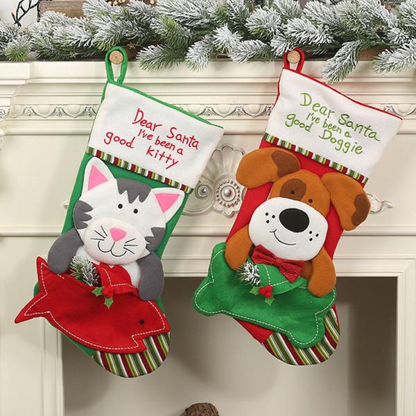 Пэт конверт чулок Новогоднее украшение Собака Кошка Конверт Pet Носки Рождественские Украшения Дома Хэллоуин Рождественские Подарки A04