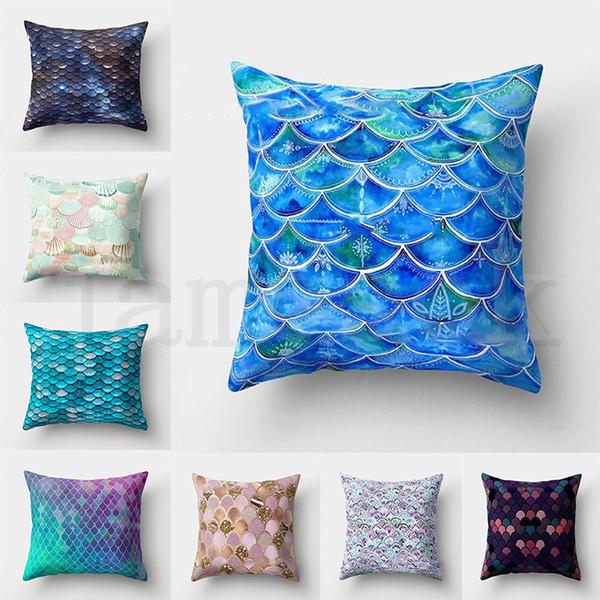 Sirena pesce scala federa Copertura Glamour Piazza Federa Cuscino Casa Divano Car Decor Sirena Cuscino Copre 16 Colori dc440