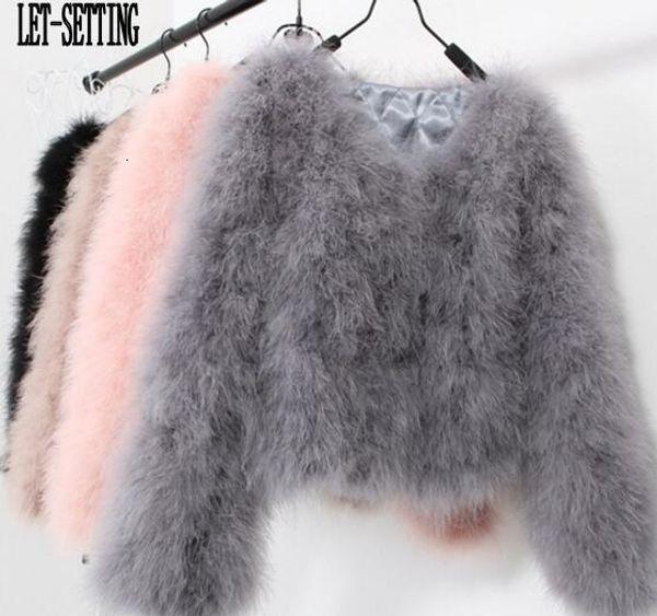 LET-SETTING sexy Ostrich wool turkey real fur women coat genuine feather short plus size 7XL winter festival long sleeve jacket Y190919