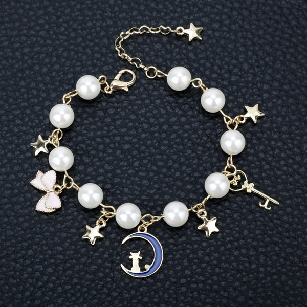 Dongsheng Jewelry Sailor Moon Charm Bracelet Cardcaptor Sakura Blue Moon  Cat Star Bow Knot Crystal Imitation Pearl Bangle 25 Bracelet Charms Baby