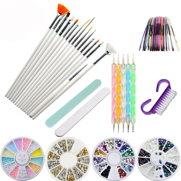 1 Set Nail Art Kit Rhinestones Beads Studs Brushes Dotting Pens Tool Striping Tape Line Nail Sticker DIY Nails Decoration Salon