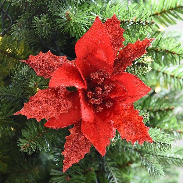5 piezas Decoración de árbol de Navidad Flores artificiales Oro Rojo Plata Accesorios para colgar Árbol de Navidad Decoración de fiesta en casa Accesorio de año nuevo