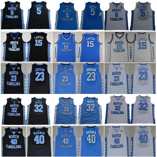 2019 Ncaa North Carolina Saltos de Alcatrão 23 Michael 5 Nassir Little 15 Carter 32 Luke Maye Barnes Vintage UNC Azul Preto Branco Homens Camisolas de Faculdade