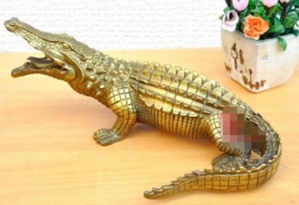 "NEW ++ +Nice Bronze Brass Alligator Crocodile Statue Figure 9""Long"