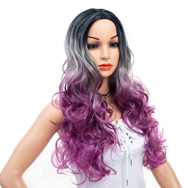 26 pouces machine faite perruque grand rouleau cheveux grande vague manche milieu longueur cheveux bouclés armure européenne Ombre Couleur perruque synthétique