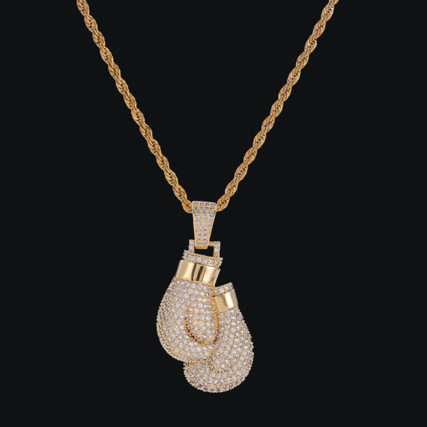 Men Bling Boxing Gloves Pendant Necklace With Rope Chain Silver Gold Color Iced Out Cubic Zircon Hip hop Jewelry