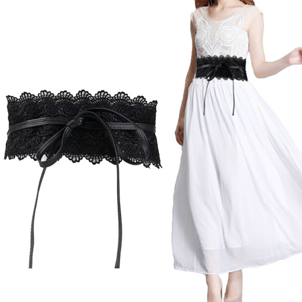 Boho Style Wide Corset Lace Belt Female Elastic Waistband Belts for Women Wedding Dress Waist Band