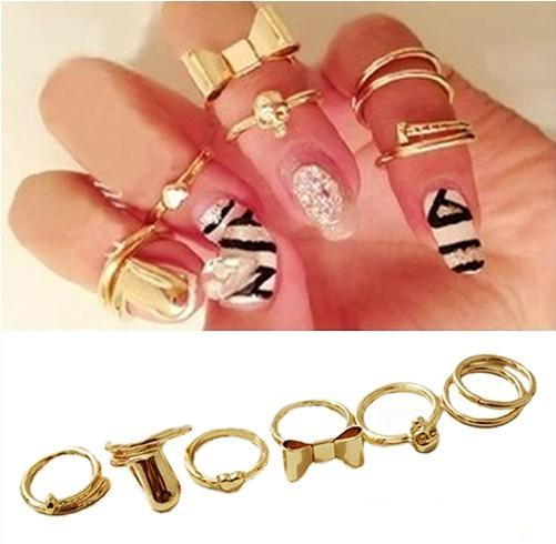 Cool Gold Stack Skull Bow Heart Nail Band Mid Finger Top Ring Set Good Quality-P