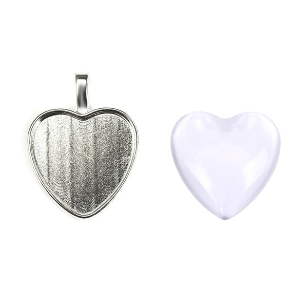 20Sets 25mm Heart Pendant Glass Cabochon Clear Base Setting Bezel Blank Silver Plated Necklace Diy Jewelry Making Accessories