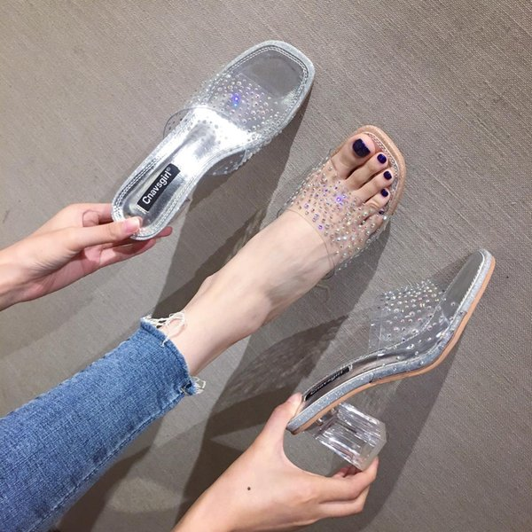 Hot2019 Slipper Mujer transparente Otra ropa Sandalias antideslizantes Joker Dawdler Rhinestone Zapatos planos