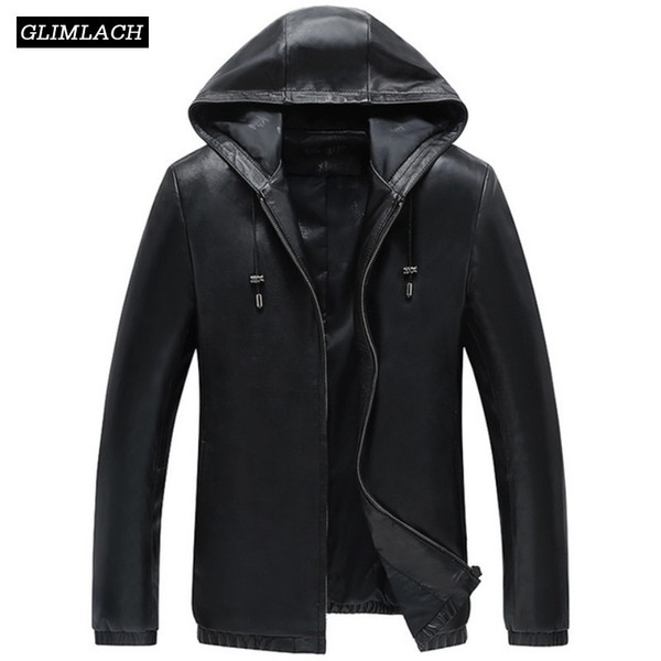 Korean Genuine Leather Jackets Men Hooded Black Luxury Sheepskin Real Leather Coats New Autumn Winter Casual Hat Outerwear Male