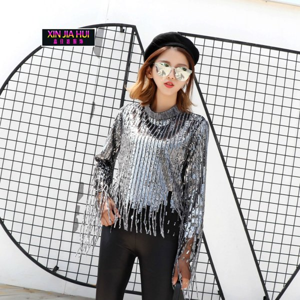 New Blingbling Paillette Unlined Sexy Perspective Gauze Tassels Casual Clothing Accessories Jazz Pole Dance Ballroom Singer