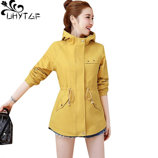 uhytgf woman coat fashion embroidery hooded spring autumn windbreaker pure color wild short  outerwear female basic coat 791