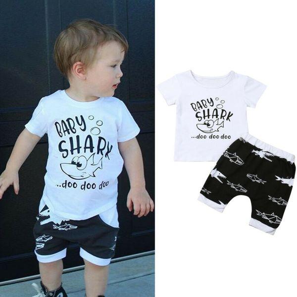 Toddler Kids Baby Boys Clothes Short Sleeve Tops T-Shirt Shark Pants Outfits Set
