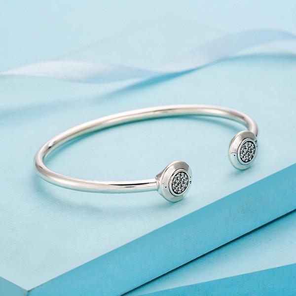 2019Women Luxury Classic design CZ Diamond Disc Cuff Bangle Original box for Pandora 925 Sterling Silver Bracelet Womens Gift156401565171971