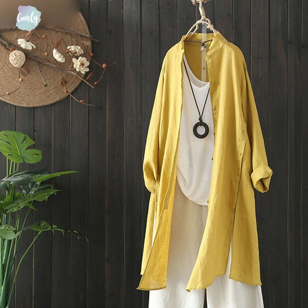 Roupa de cama de algodão de manga blusa 2019 Plus Size Mulheres Primavera Outono Casual Longo Vintage solto Trabalho Ol Cardigan Spandex shirt