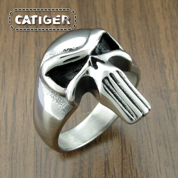 Free Shipping! New Cool 316L Stainless Steel Fashion Punisher Skull Ring Punk Unqiue Jewelry For Men K6029