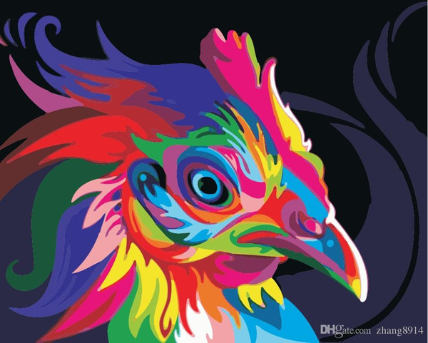 16x20 inches DIY Paint on Canvas by Number Kits Abstract Art Acrylic Oil Painting for Adults Children Color Rooster Head