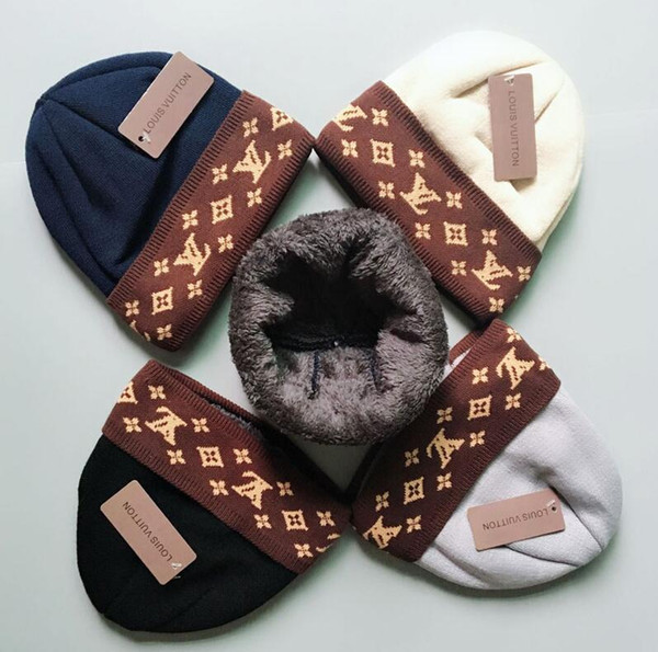 2019 новая мода V luxury brand 4 Цвет зимняя шапка для мужчин шапочки женщины досуг теплая шапка мужская эластичность вязать шапочки шляпы Бесплатная доставка