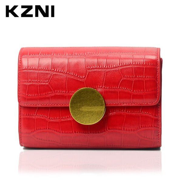 KZNI Woman Bags  Designers Crocodile Women Genuine Leather Embossed Bag Female Imported Handbags Real Leather Purse 1389